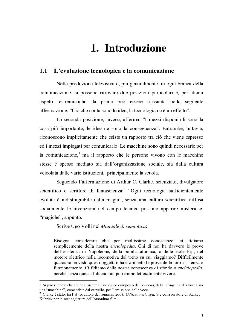 Anteprima della tesi: Cronaca e tecnologia Cinquant'anni di informazione televisiva in Italia, Pagina 1