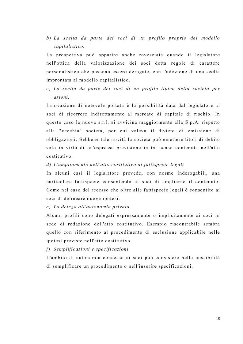 Anteprima della tesi: Amministrazione e controllo nella società a responsabilità limitata secondo la riforma del diritto societario, Pagina 10