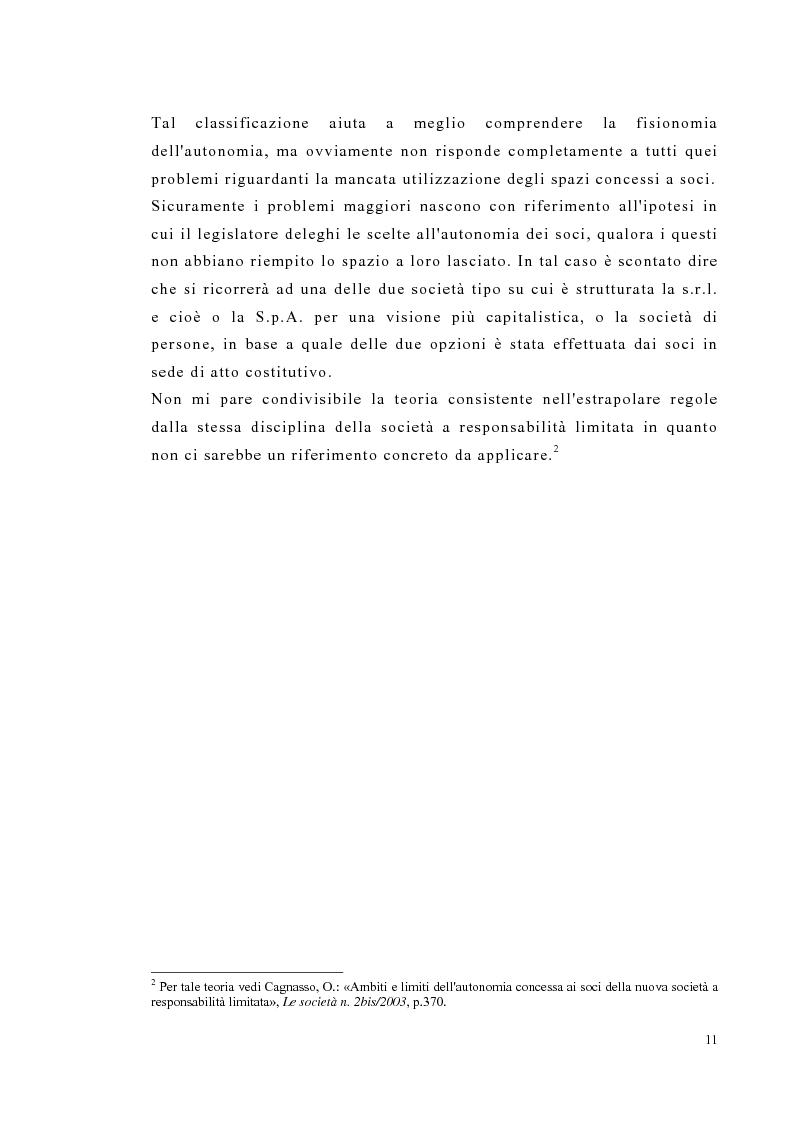 Anteprima della tesi: Amministrazione e controllo nella società a responsabilità limitata secondo la riforma del diritto societario, Pagina 11