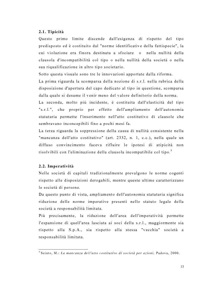 Anteprima della tesi: Amministrazione e controllo nella società a responsabilità limitata secondo la riforma del diritto societario, Pagina 13