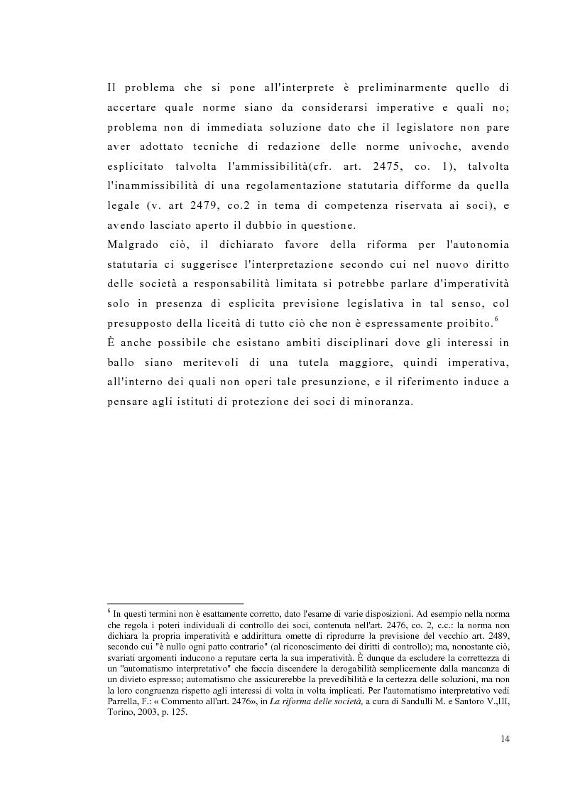 Anteprima della tesi: Amministrazione e controllo nella società a responsabilità limitata secondo la riforma del diritto societario, Pagina 14