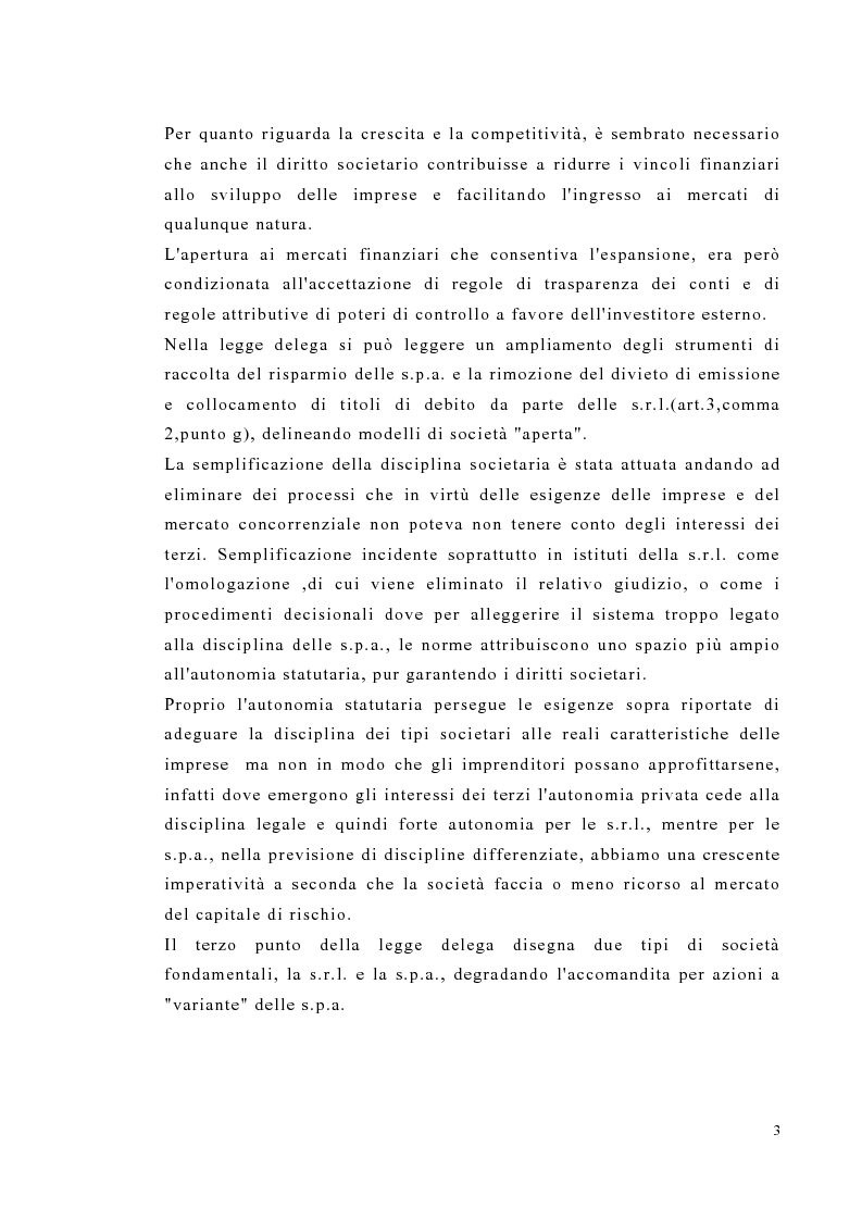 Anteprima della tesi: Amministrazione e controllo nella società a responsabilità limitata secondo la riforma del diritto societario, Pagina 3