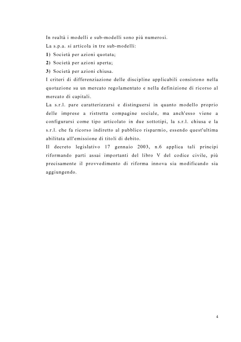 Anteprima della tesi: Amministrazione e controllo nella società a responsabilità limitata secondo la riforma del diritto societario, Pagina 4