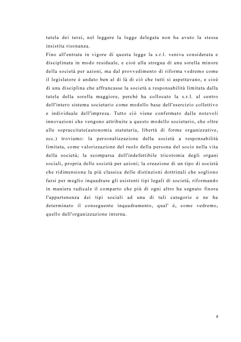 Anteprima della tesi: Amministrazione e controllo nella società a responsabilità limitata secondo la riforma del diritto societario, Pagina 8