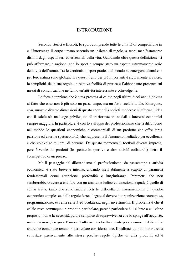 Anteprima della tesi: La finanza nelle società di calcio, Pagina 1