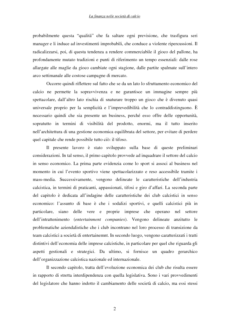 Anteprima della tesi: La finanza nelle società di calcio, Pagina 2