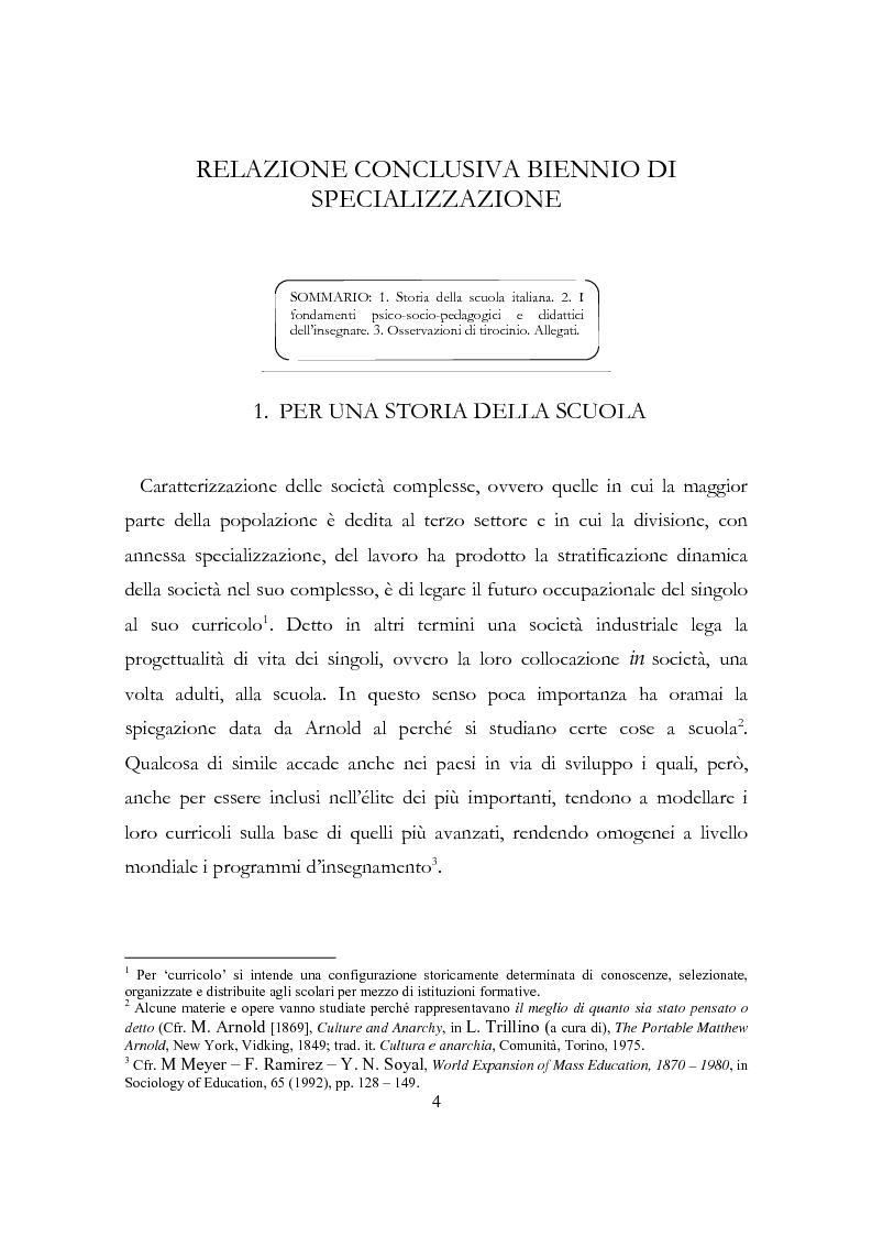 Relazione conclusiva del biennio di specializzazione - Tesi di Laurea