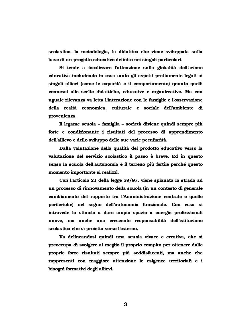 Anteprima della tesi: L'Autovalutazione d'Istituto, Pagina 3
