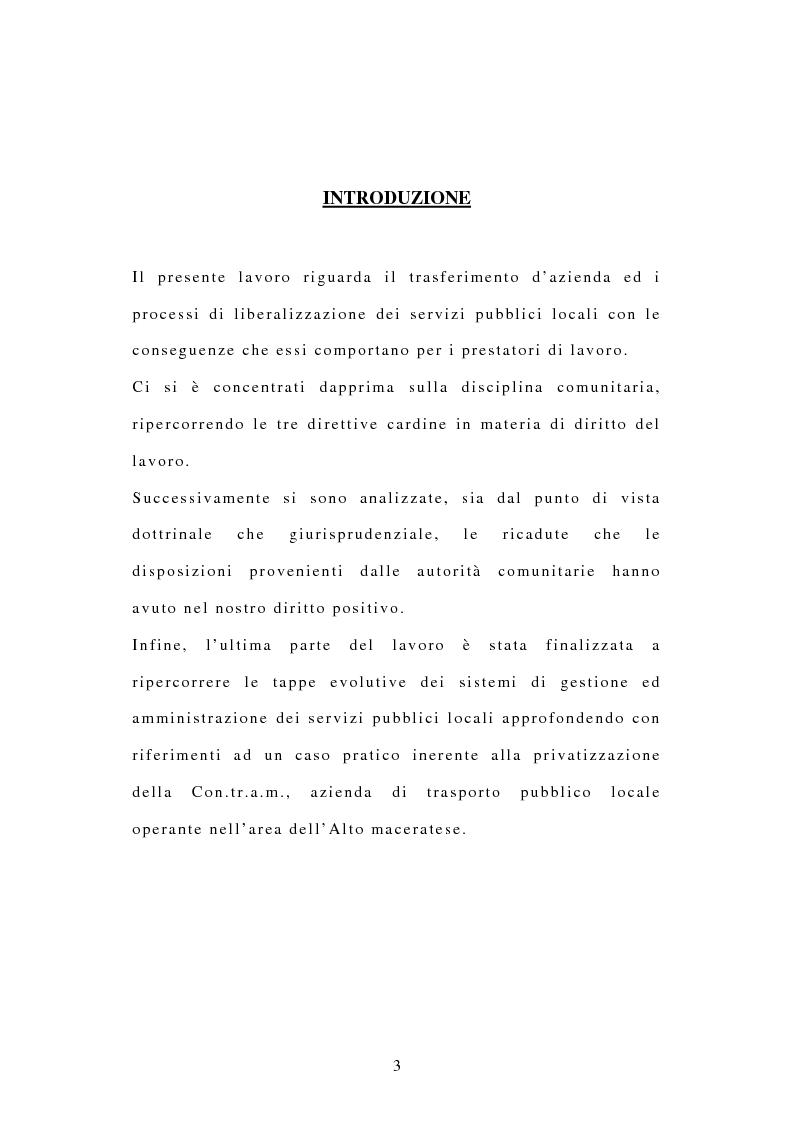 Anteprima della tesi: La tutela dei diritti dei lavoratori in caso di trasferimento d'azienda e di privatizzazione dei servizi pubblici locali, Pagina 1