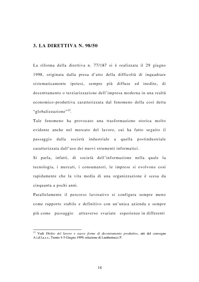 Anteprima della tesi: La tutela dei diritti dei lavoratori in caso di trasferimento d'azienda e di privatizzazione dei servizi pubblici locali, Pagina 12