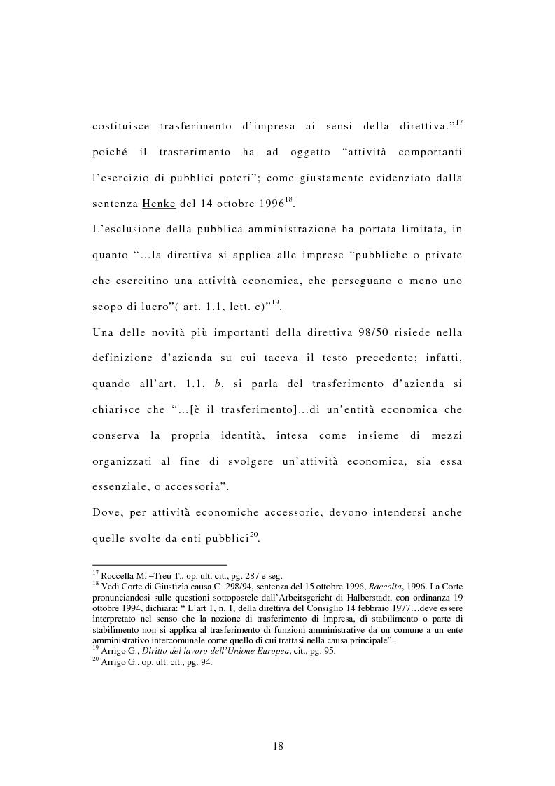Anteprima della tesi: La tutela dei diritti dei lavoratori in caso di trasferimento d'azienda e di privatizzazione dei servizi pubblici locali, Pagina 16