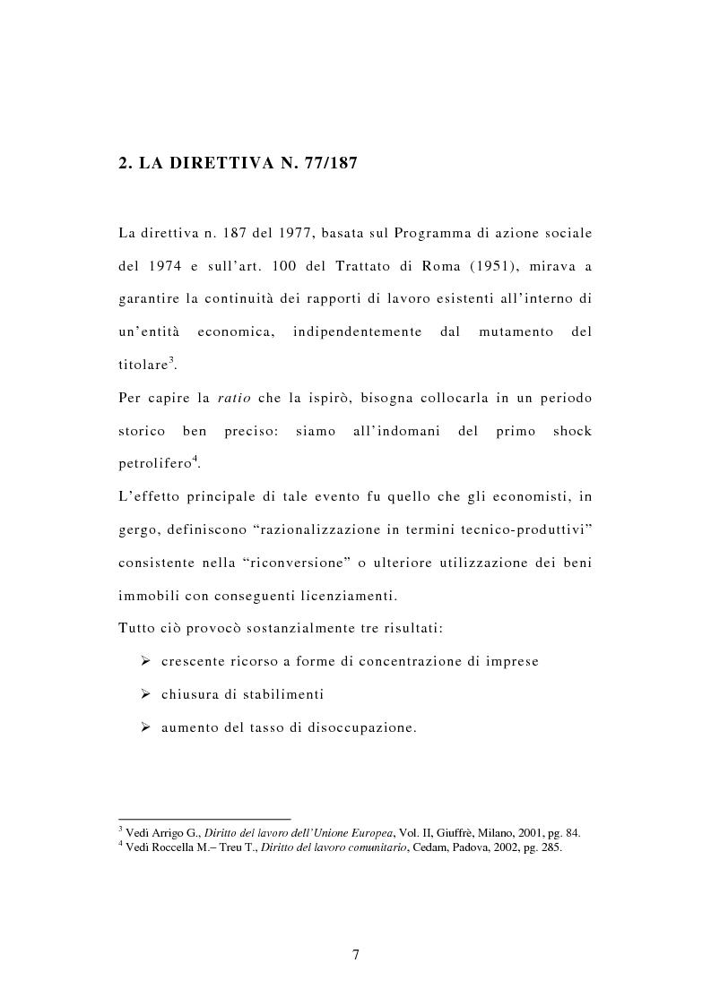 Anteprima della tesi: La tutela dei diritti dei lavoratori in caso di trasferimento d'azienda e di privatizzazione dei servizi pubblici locali, Pagina 5