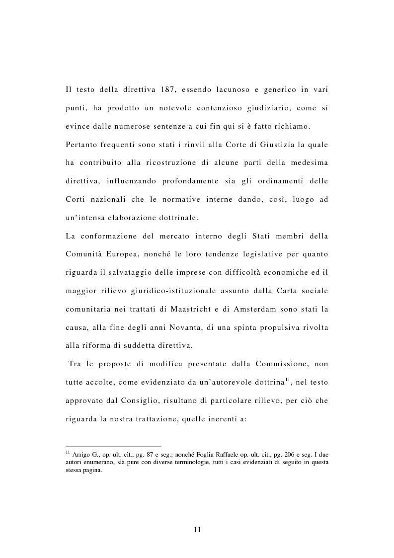 Anteprima della tesi: La tutela dei diritti dei lavoratori in caso di trasferimento d'azienda e di privatizzazione dei servizi pubblici locali, Pagina 9