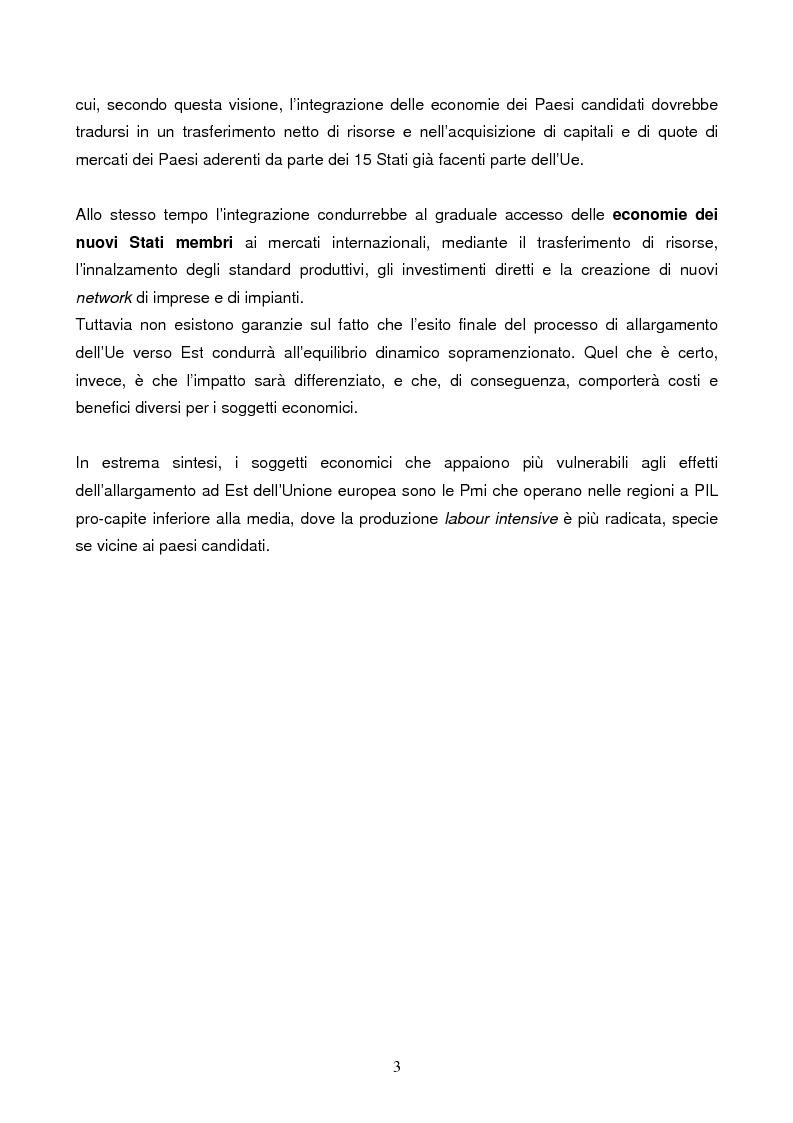Anteprima della tesi: L'allargamento ad Est dell'Unione Europea e le ripercussioni sul sistema delle piccole e medie imprese italiane, Pagina 3
