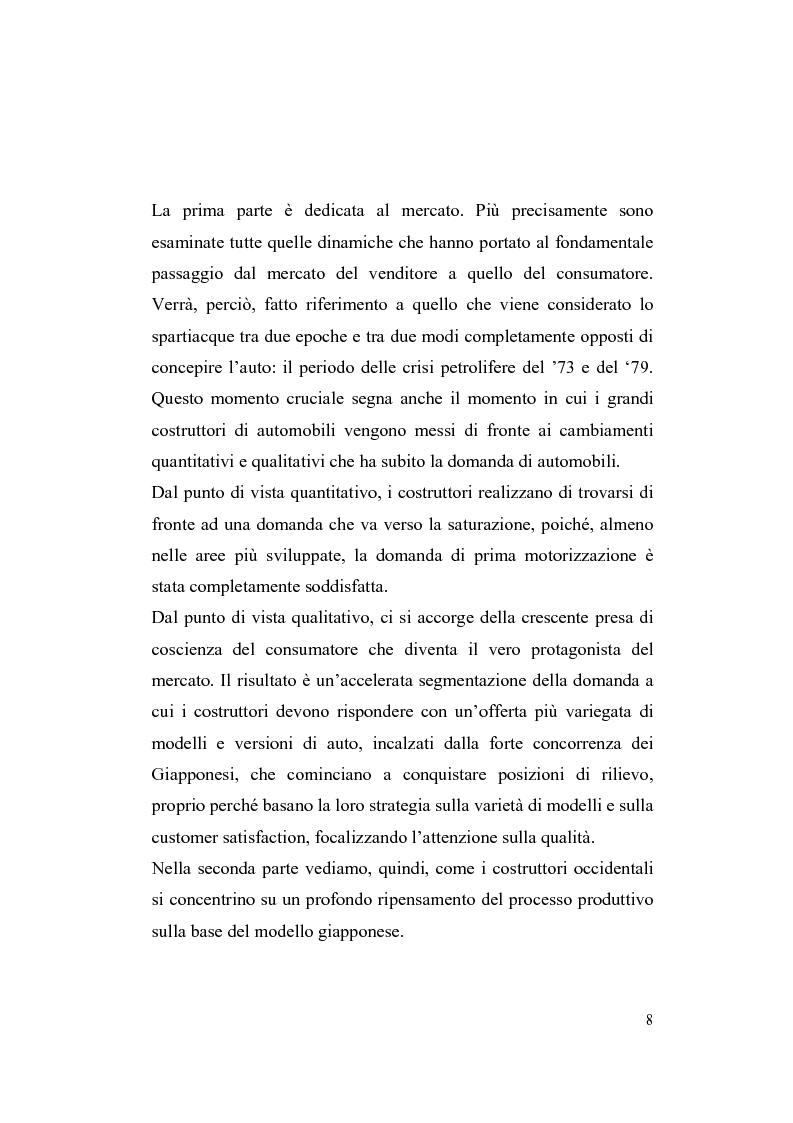 Anteprima della tesi: La riorganizzazione nel settore automotive: il rapporto con i fornitori e la distribuzione, Pagina 2