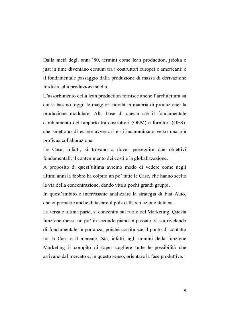 Anteprima della tesi: La riorganizzazione nel settore automotive: il rapporto con i fornitori e la distribuzione, Pagina 3