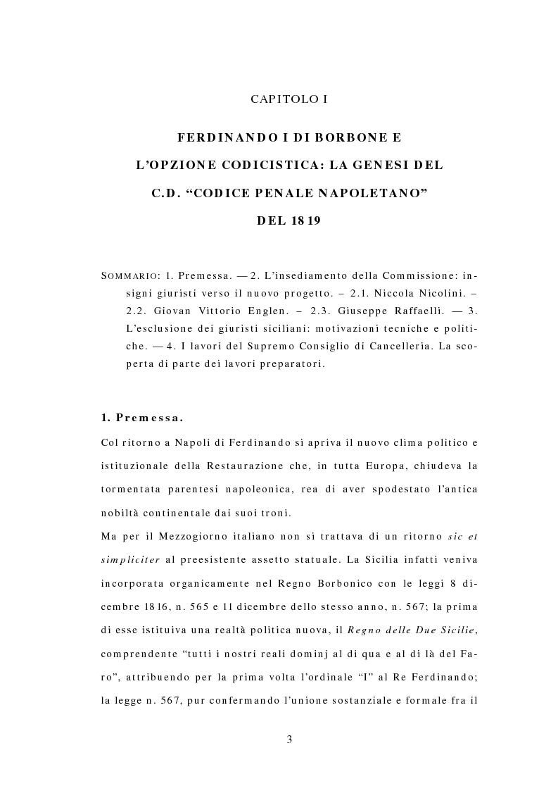 Anteprima della tesi: Il Codice delle Due Sicilie del 1819, Pagina 1