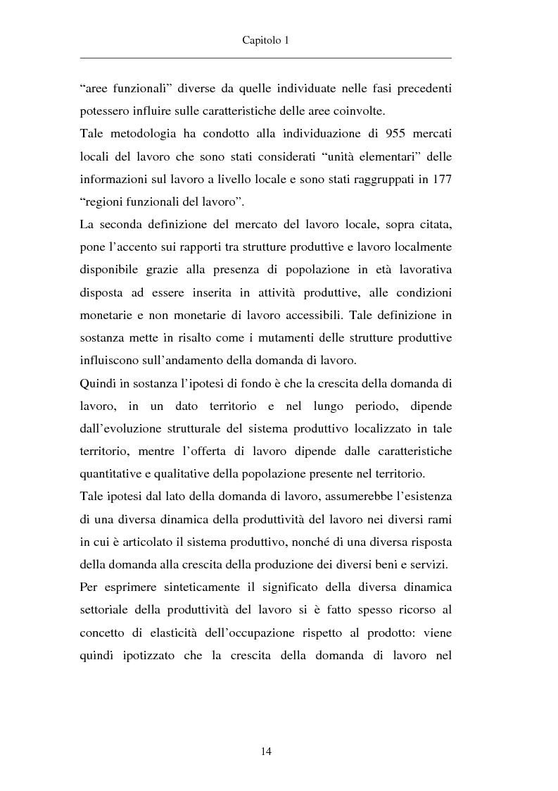 Anteprima della tesi: Un approccio territoriale al mercato del lavoro: aspetti analitici e strategici, Pagina 14