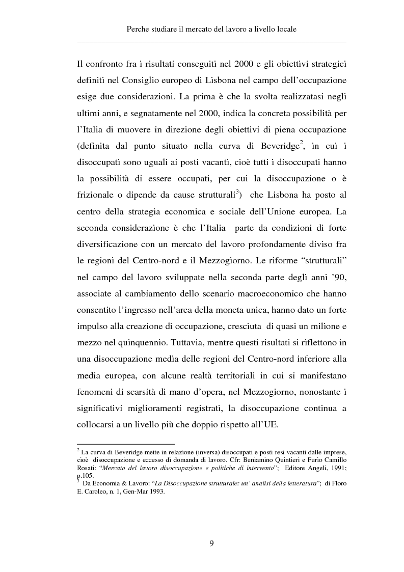 Anteprima della tesi: Un approccio territoriale al mercato del lavoro: aspetti analitici e strategici, Pagina 9