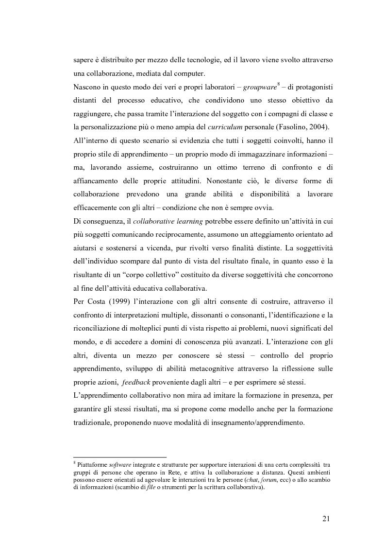 Anteprima della tesi: Apprendere oggi. La valutazione di un'esperienza di formazione a distanza, Pagina 15
