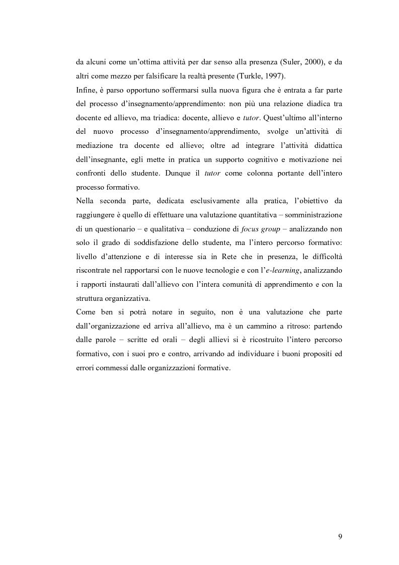 Anteprima della tesi: Apprendere oggi. La valutazione di un'esperienza di formazione a distanza, Pagina 3