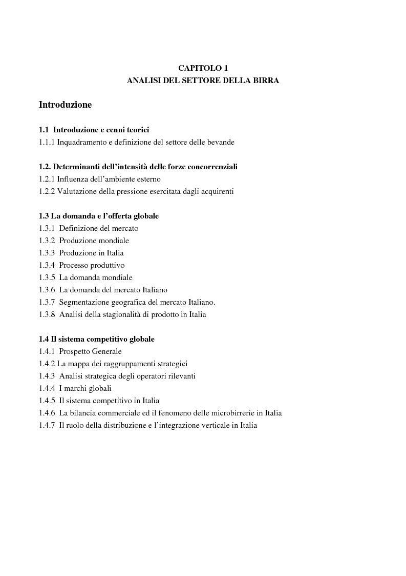 Indice della tesi: Strategie competitive nel settore della birra: il caso Birra Castello, Pagina 1