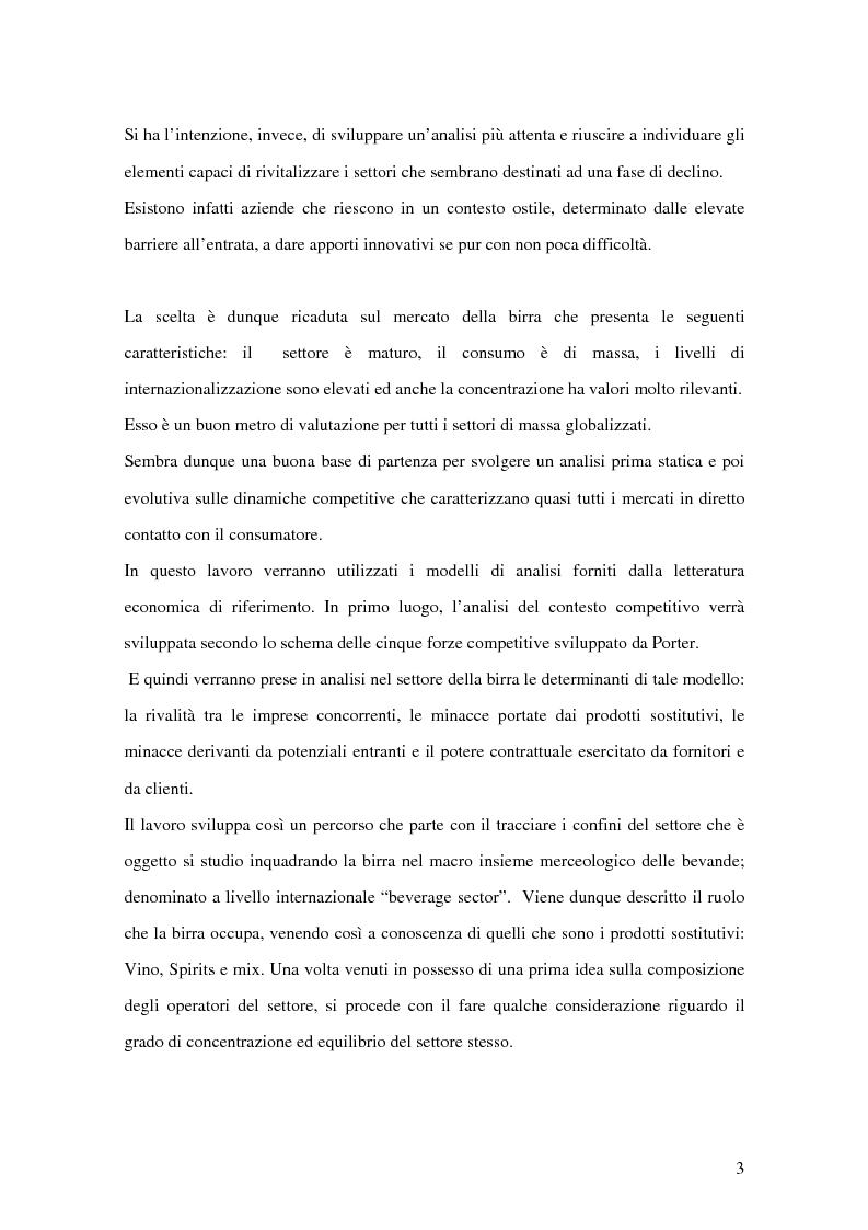Anteprima della tesi: Strategie competitive nel settore della birra: il caso Birra Castello, Pagina 3