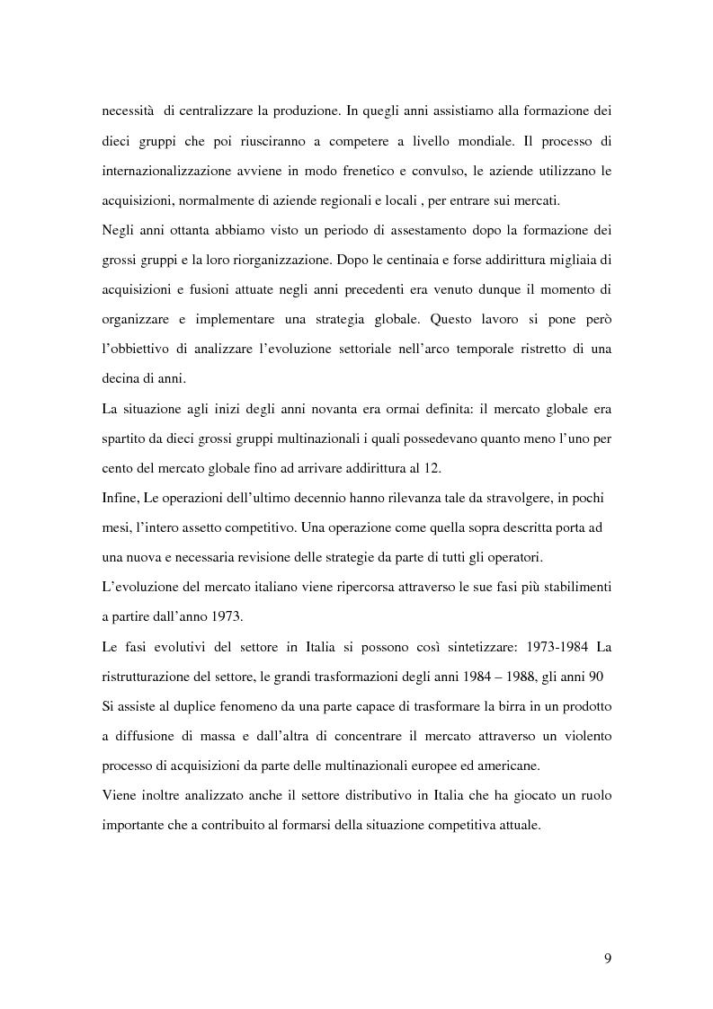 Anteprima della tesi: Strategie competitive nel settore della birra: il caso Birra Castello, Pagina 9