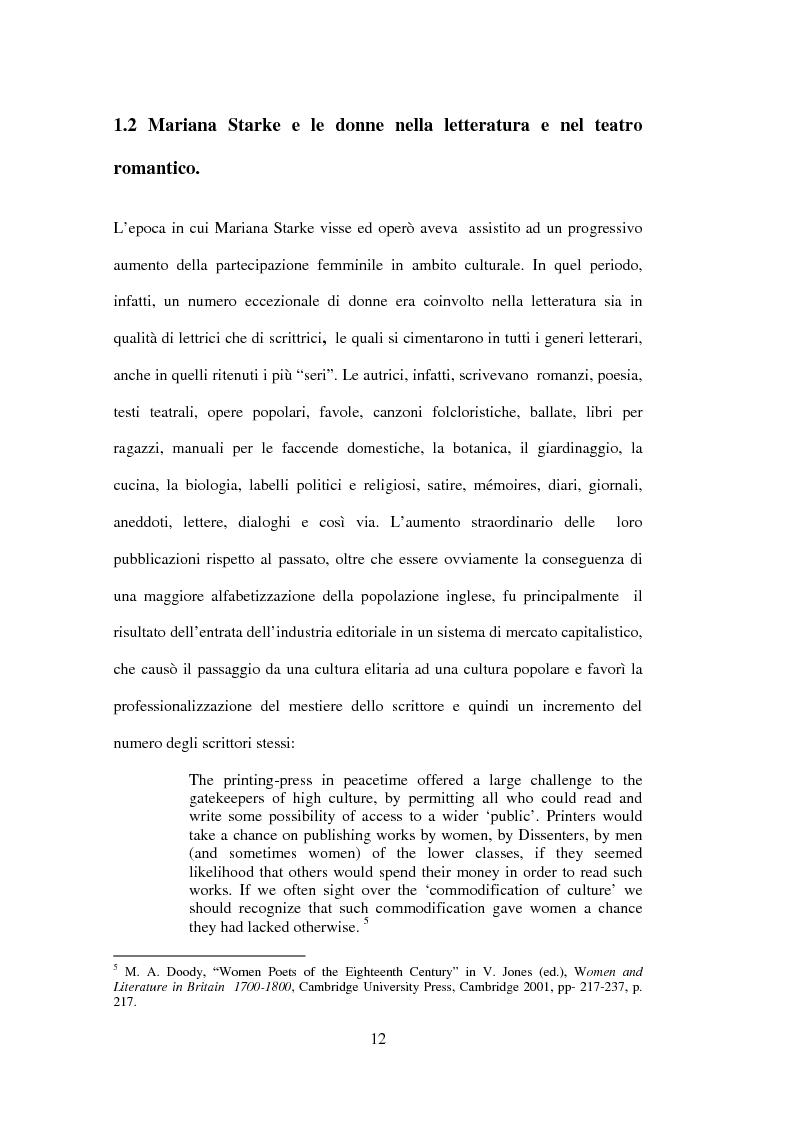 Anteprima della tesi: La drammaturgia di Mariana Starke (1762 ? - 1838), Pagina 12