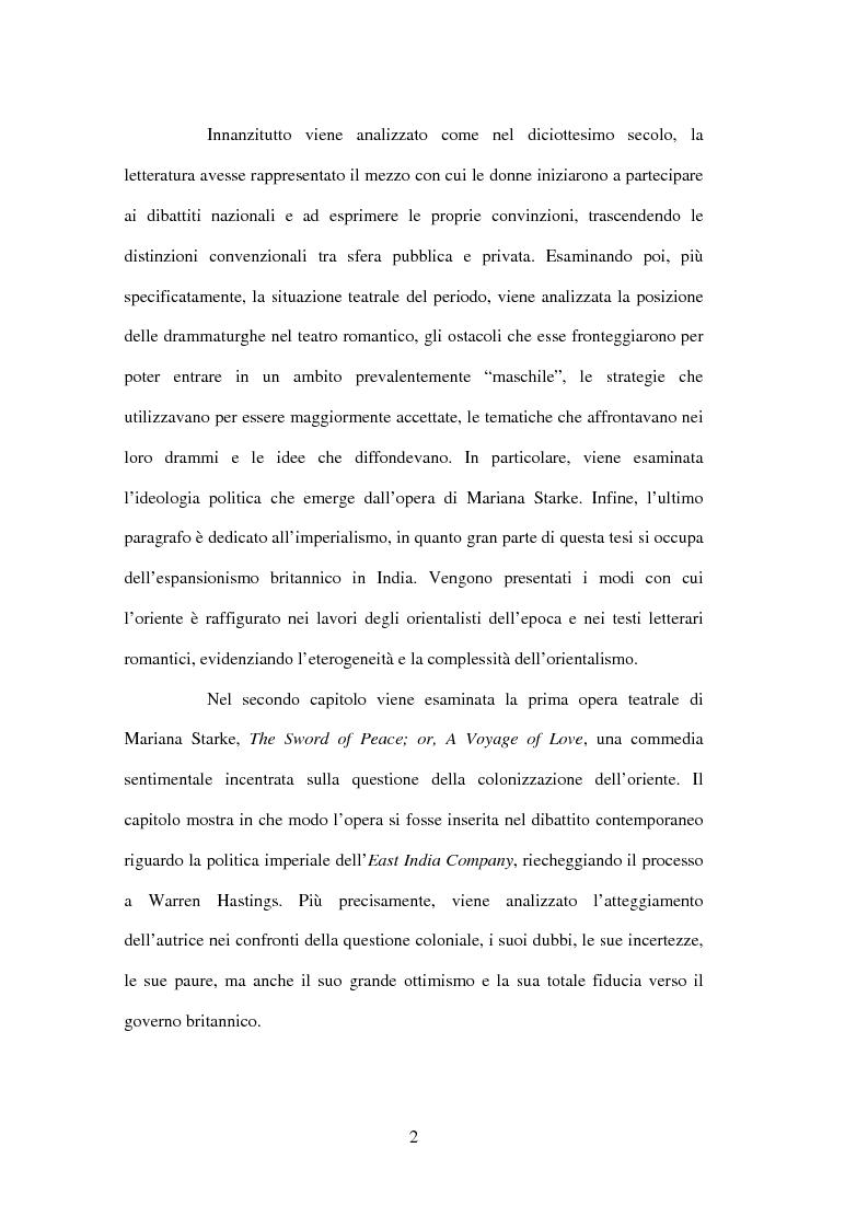 Anteprima della tesi: La drammaturgia di Mariana Starke (1762 ? - 1838), Pagina 2