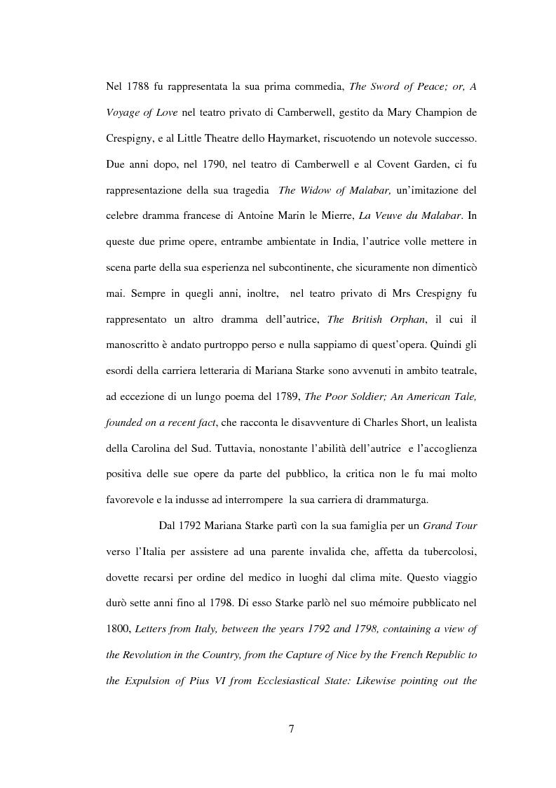 Anteprima della tesi: La drammaturgia di Mariana Starke (1762 ? - 1838), Pagina 7