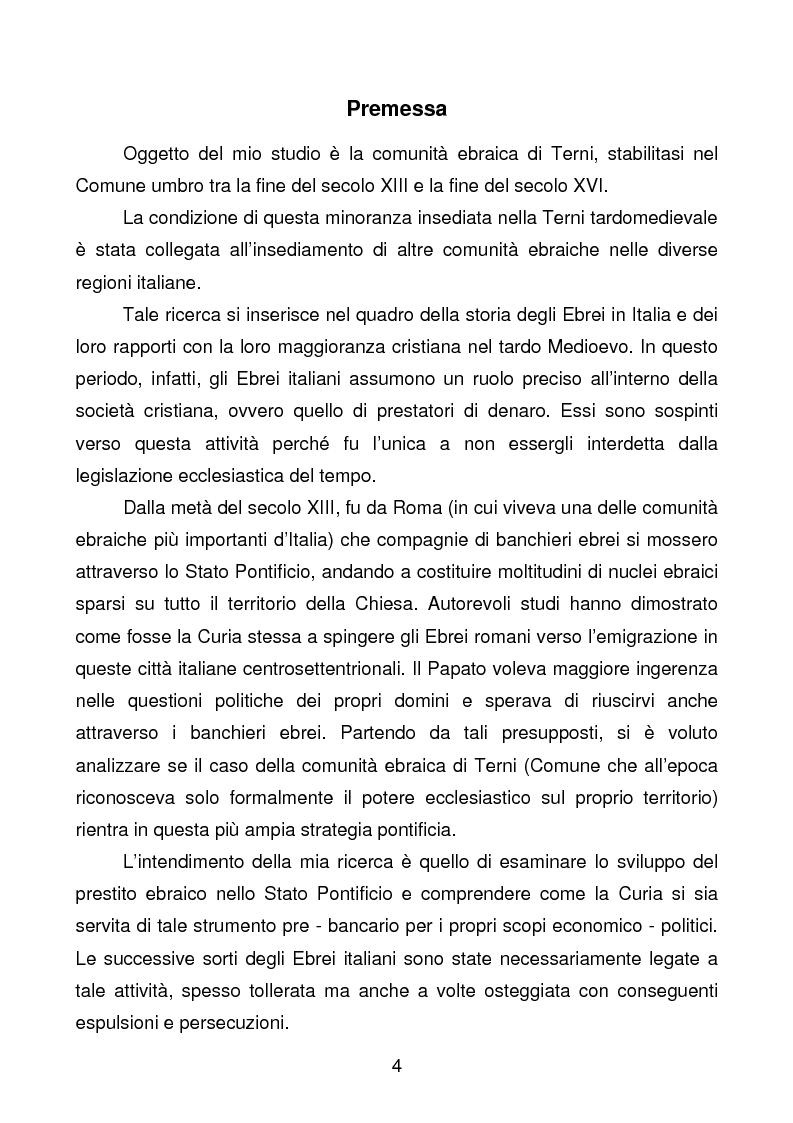 Anteprima della tesi: La comunità ebraica di Terni, Pagina 1