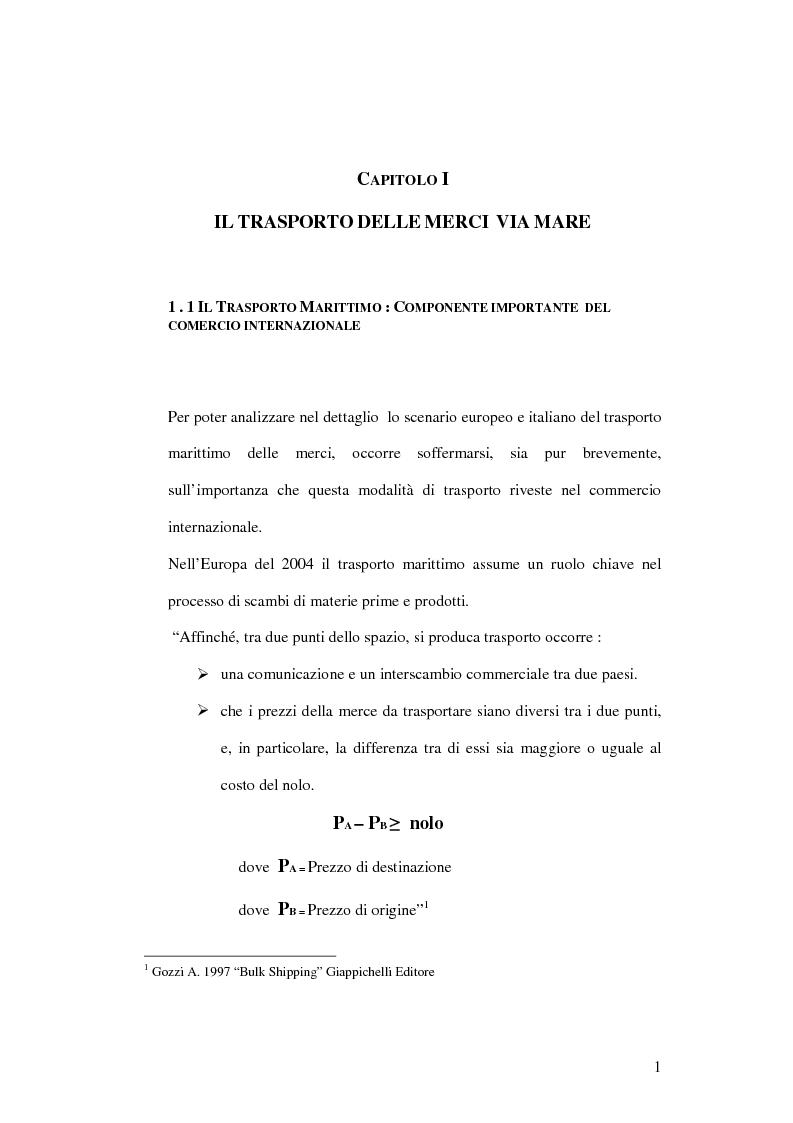 Anteprima della tesi: Evoluzione infrastrutturale e competitiva del trasporto merci via mare. L'esperienza dello Short Sea Shipping nell Tirrenia Navigazione, Pagina 5