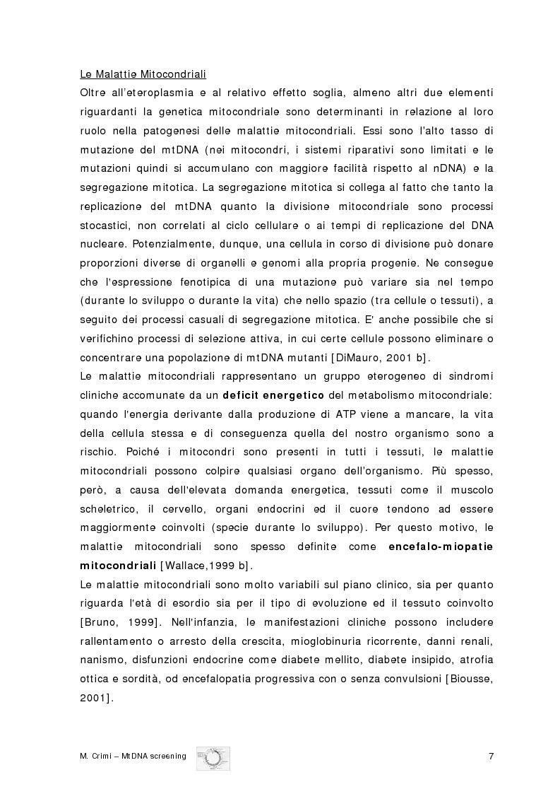 Anteprima della tesi: Eziopatogenesi molecolare delle Encefalomiopatie Mitocondriali, Pagina 4