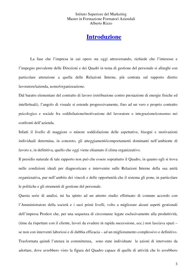 Anteprima della tesi: Le Relazioni Interne: il Quadro. Il rapporto diretto lavoratore/azienda uomo/organizzazione, Pagina 1