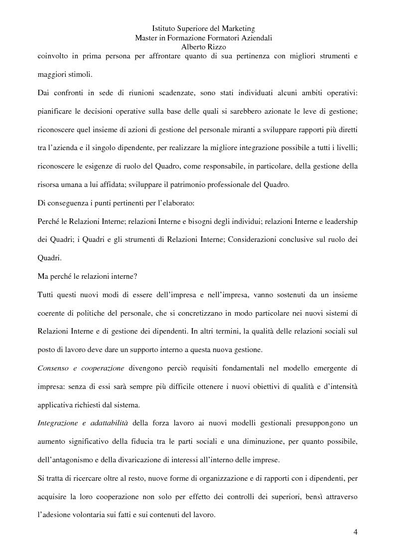 Anteprima della tesi: Le Relazioni Interne: il Quadro. Il rapporto diretto lavoratore/azienda uomo/organizzazione, Pagina 2