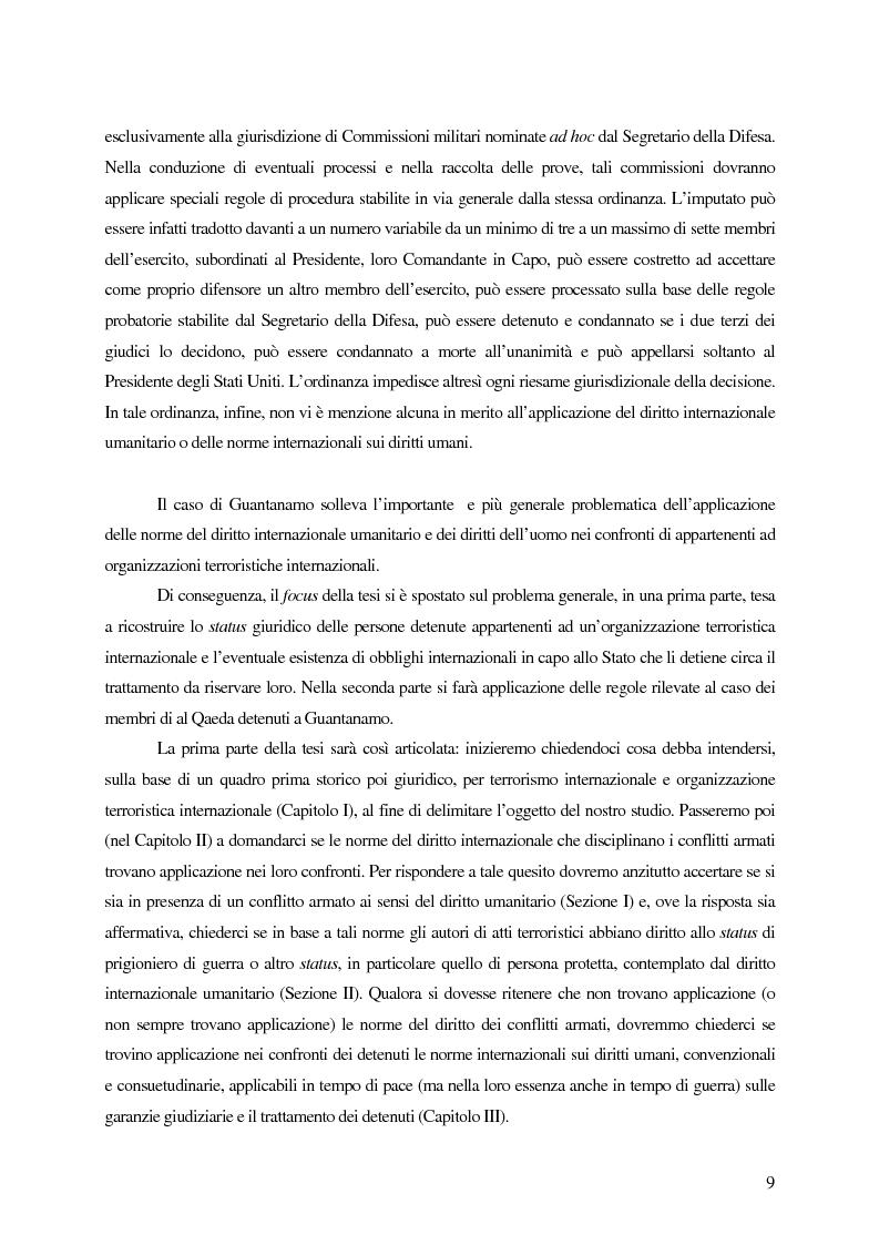 Anteprima della tesi: Il trattamento dei membri di organizzazioni terroristiche internazionali con particolare riguardo al ''caso Guantanamo'', Pagina 4