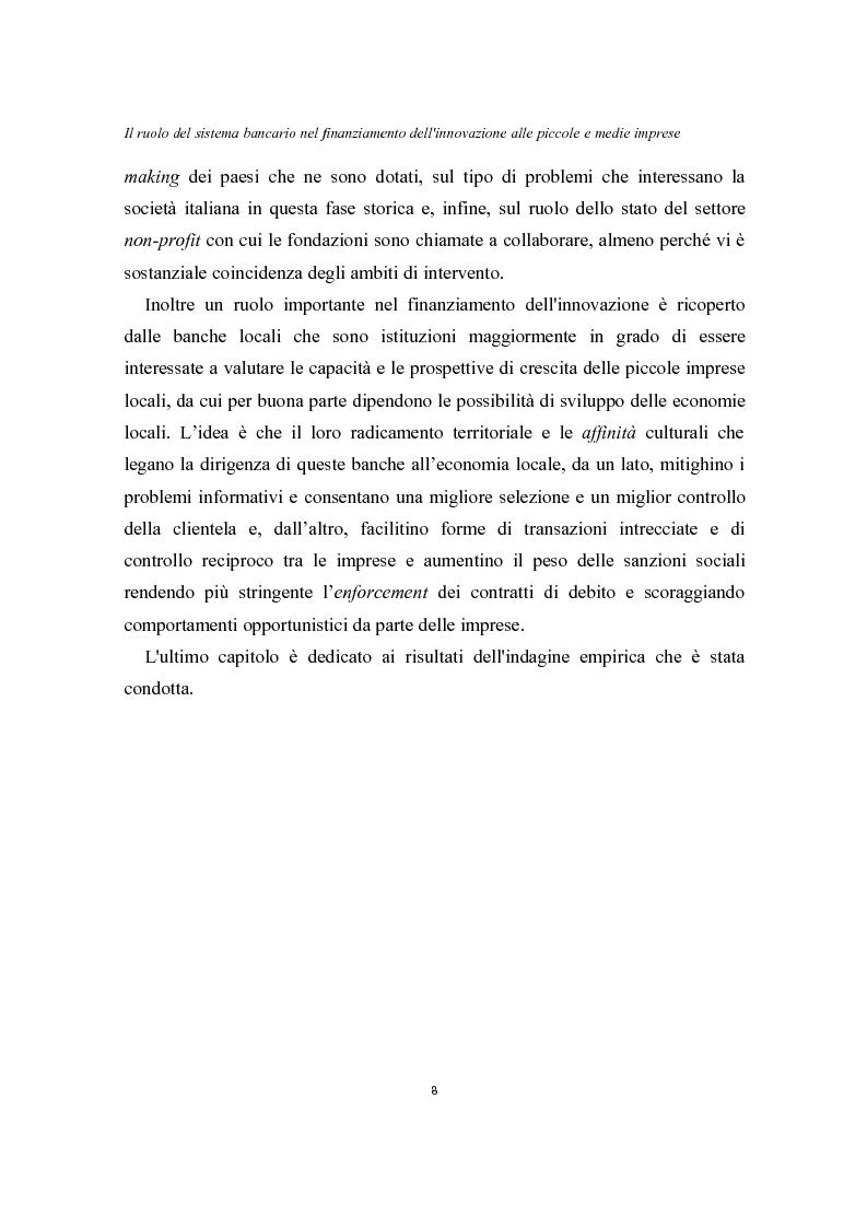 Anteprima della tesi: Il ruolo del sistema bancario nel finanziamento dell'innovazione alle piccole e medie imprese, Pagina 4