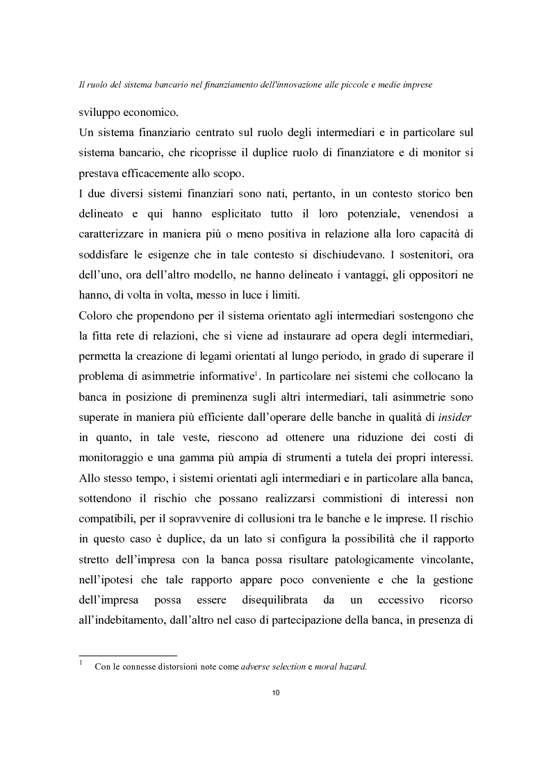 Anteprima della tesi: Il ruolo del sistema bancario nel finanziamento dell'innovazione alle piccole e medie imprese, Pagina 6