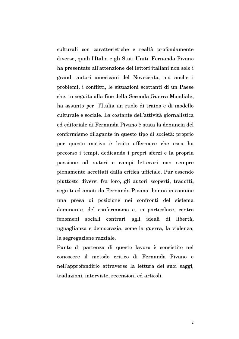 Anteprima della tesi: Fernanda Pivano e la letteratura americana, Pagina 2