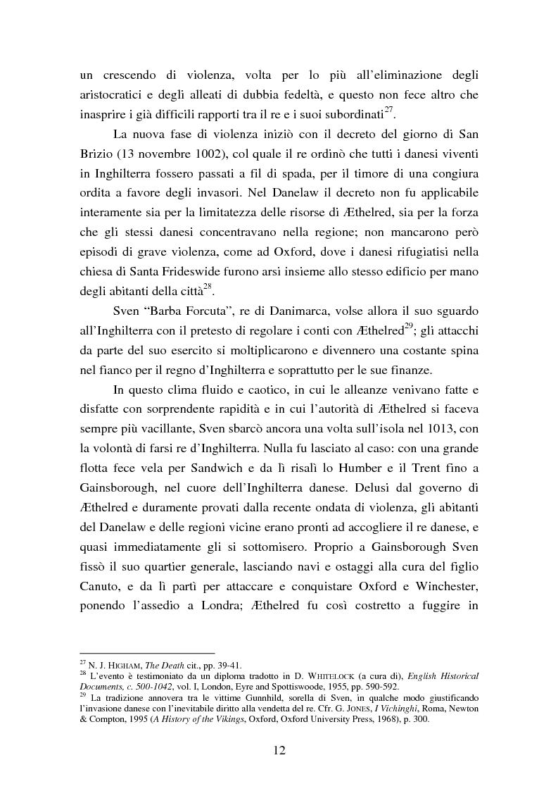 Anteprima della tesi: Presenza e azione di Ælfgifu di Northampton, regina madre e reggente nell'Impero del Nord di Canuto il Grande (1013-1040), Pagina 12