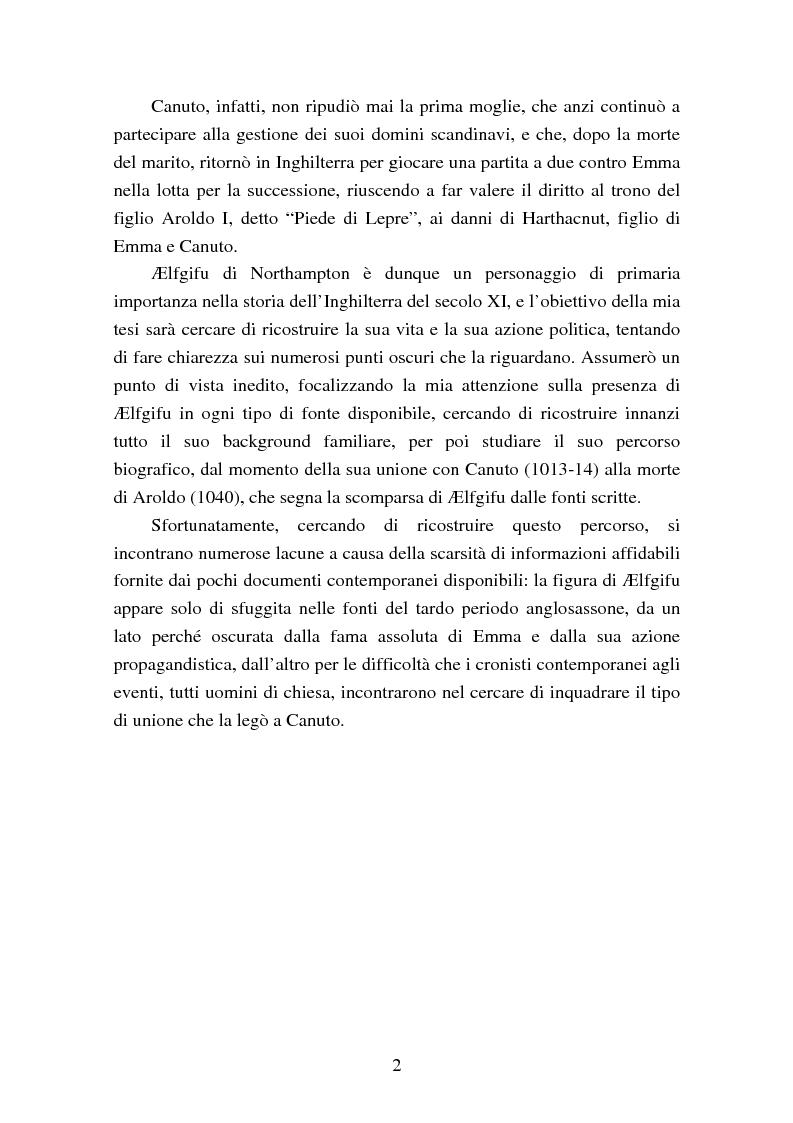 Anteprima della tesi: Presenza e azione di Ælfgifu di Northampton, regina madre e reggente nell'Impero del Nord di Canuto il Grande (1013-1040), Pagina 2