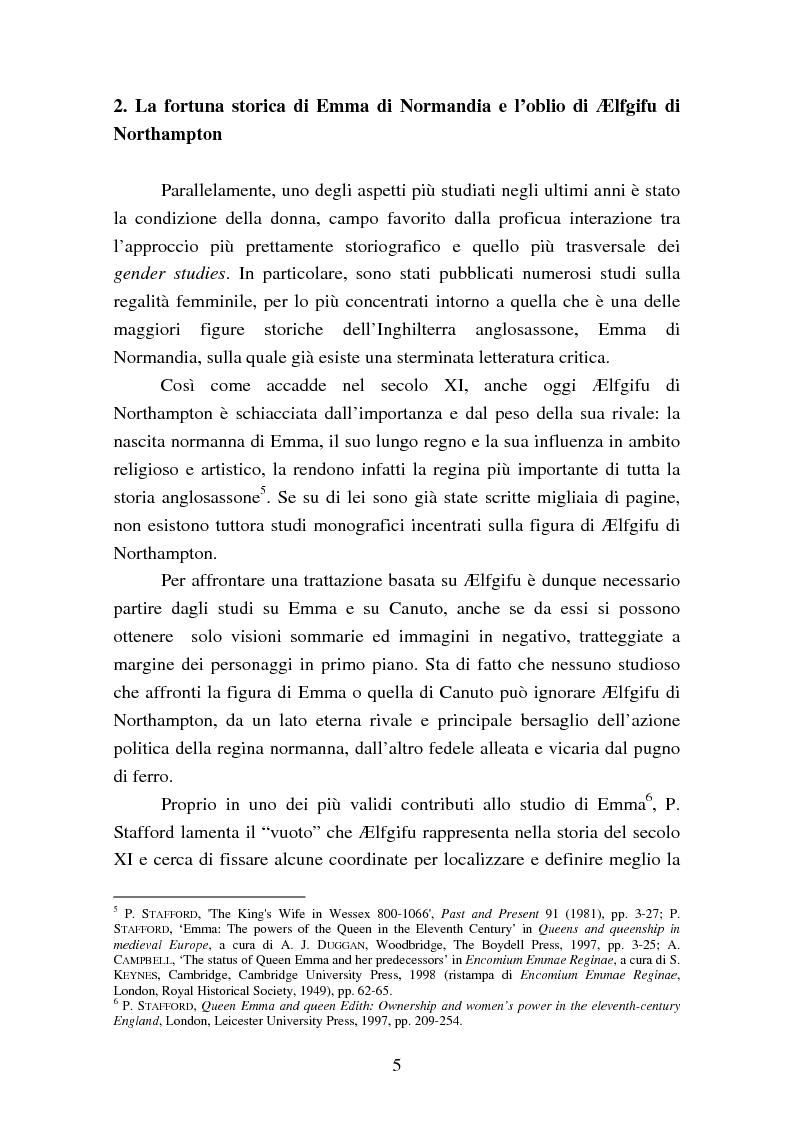 Anteprima della tesi: Presenza e azione di Ælfgifu di Northampton, regina madre e reggente nell'Impero del Nord di Canuto il Grande (1013-1040), Pagina 5
