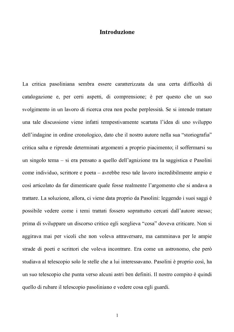Anteprima della tesi: Pasolini lettore, Pagina 1