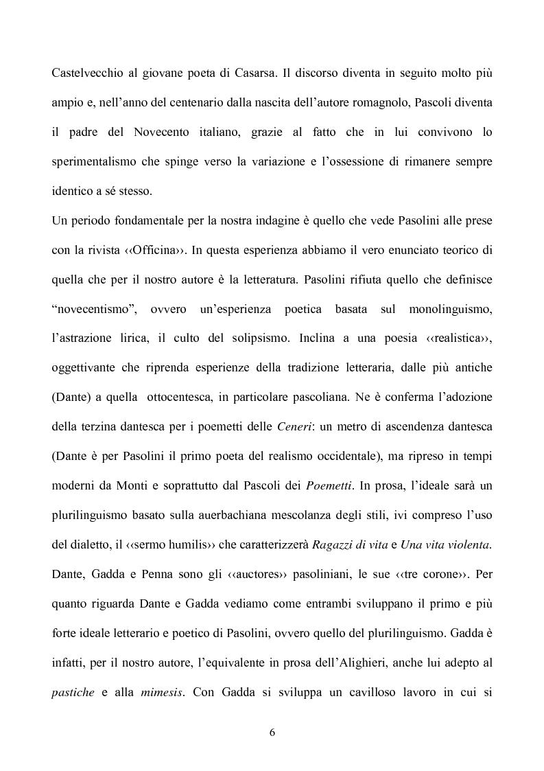 Anteprima della tesi: Pasolini lettore, Pagina 6