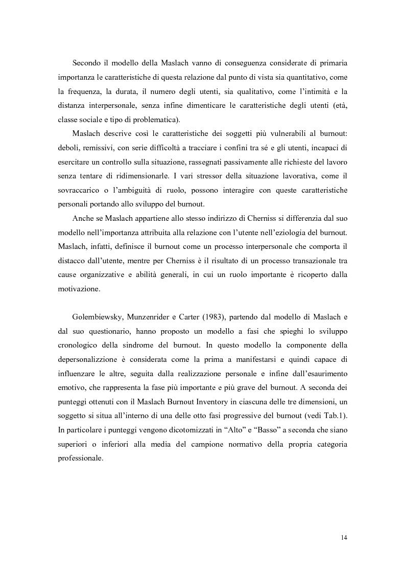 Anteprima della tesi: Rilevazione del burnout e delle strategie di coping in un campione di ausiliari socio-assistenziali, Pagina 11