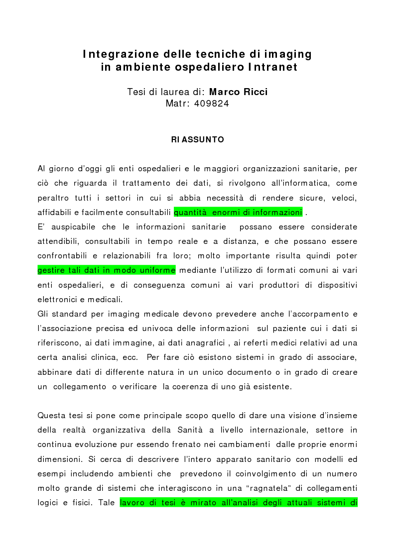 Anteprima della tesi: Integrazione delle tecniche di imaging in ambiente ospedaliero Intranet, Pagina 1