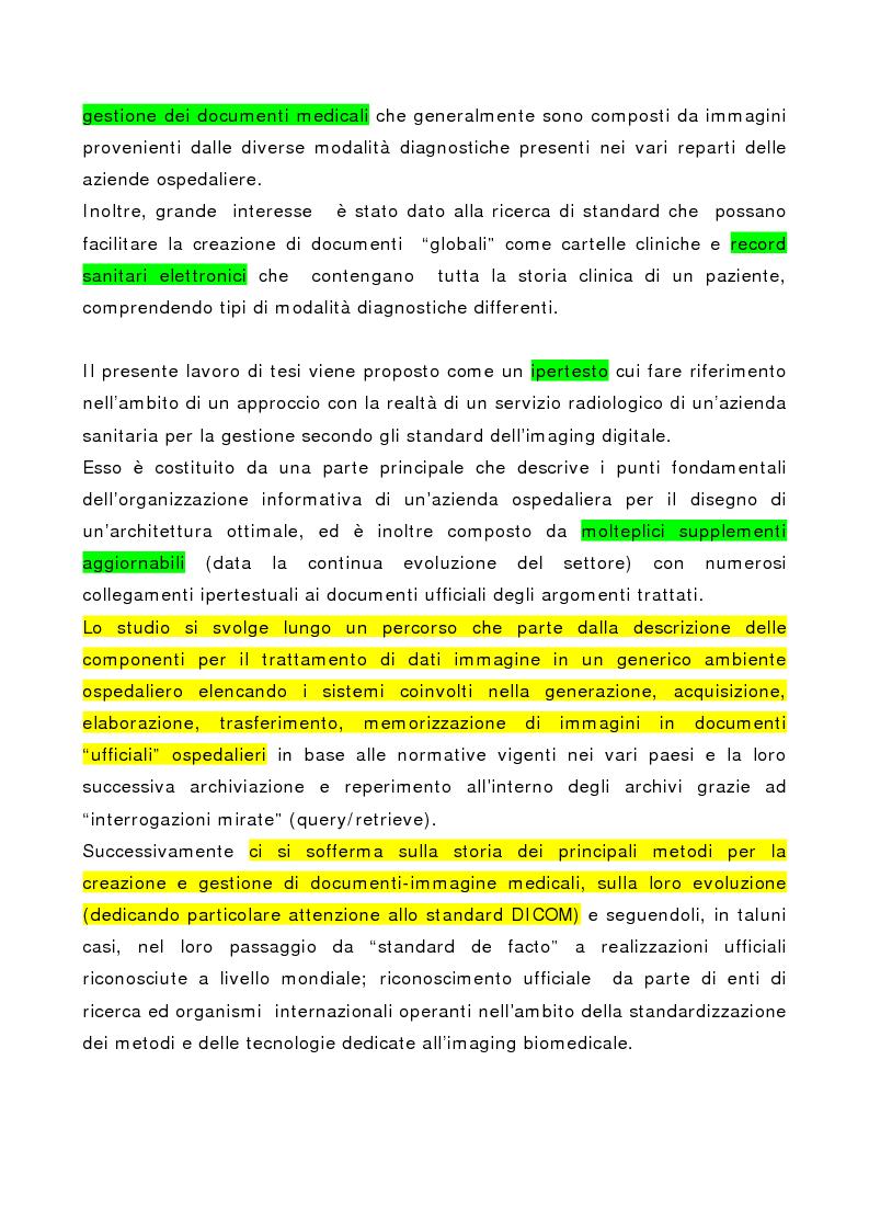 Anteprima della tesi: Integrazione delle tecniche di imaging in ambiente ospedaliero Intranet, Pagina 2