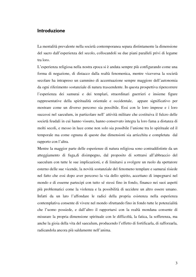 Anteprima della tesi: Ordinamenti religiosi combattenti: Templari e Samurai, Pagina 1