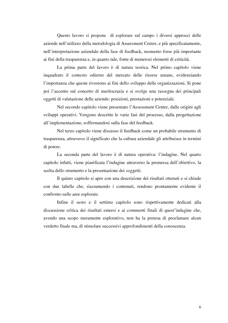 Anteprima della tesi: Assessment Center. La fase del feedback., Pagina 2